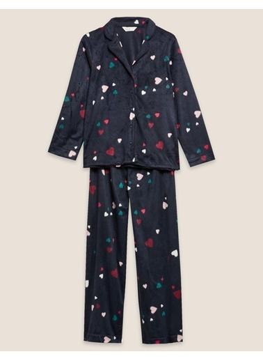 Marks & Spencer Kalp Desenli Polar Pijama Takımı Lacivert